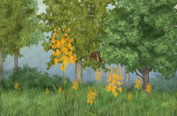 frame of animation of Palamedes butterfly flying in its habitat