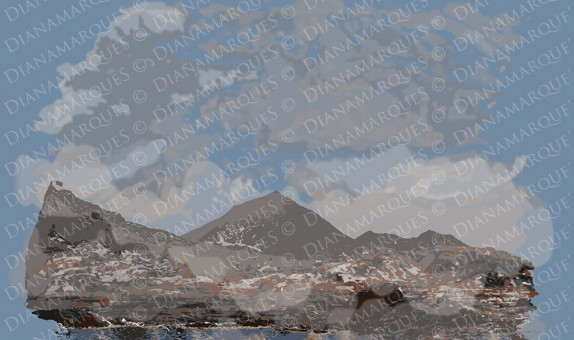 digital illustration of Earth's primitive landscape