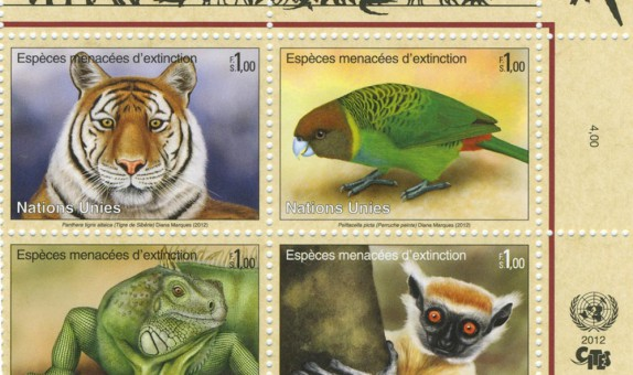 2012 United Nations Stamp Series Endangered Species - NY sheet
