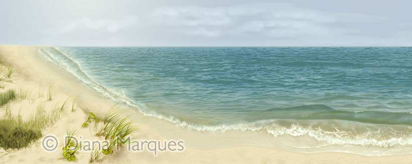 digital illustration of beach environment for Philcetus whale © Diana Marques