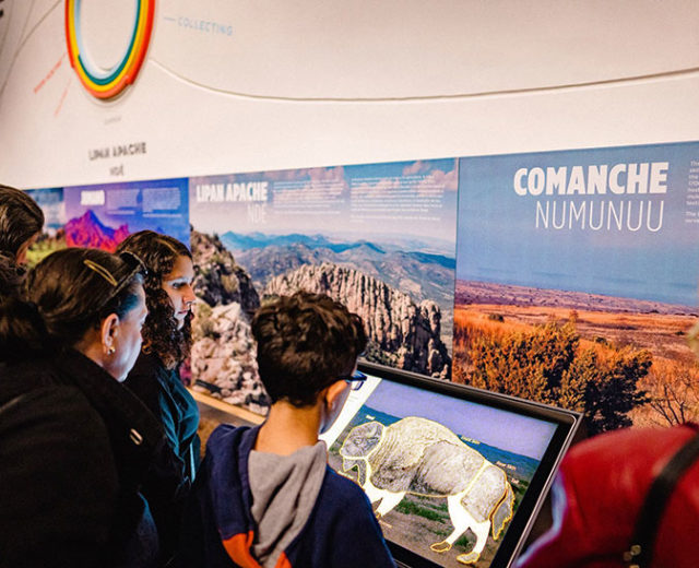 visitors to the Bullock Texas State History Museum playing the bison interactive game