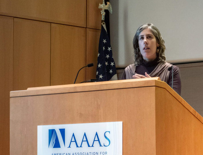 Diana Marques speaks at the AAAS Colloquium 'Visualizing Science'. Photo by Charles Chen